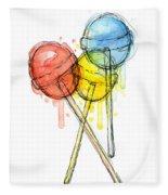 Lollipop Candy Watercolor Fleece Blanket