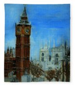 London Big Ben Clock  Fleece Blanket