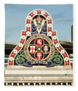 London Chatham And Dover Railway Crest With Invicta Motto Blackfriars Railway Station Fleece Blanket
