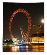 London Eye At Night Fleece Blanket