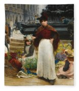 London Flower Girls Piccadilly Circus Fleece Blanket