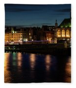 London Night Magic - Colorful Reflections On The Thames River Fleece Blanket