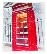 London Red Telephone Booth  Fleece Blanket