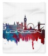 London Skyline City Blue Fleece Blanket