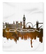 London Skyline City Brown Fleece Blanket