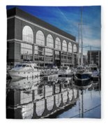 London. St. Katherine Dock. Reflections. Fleece Blanket
