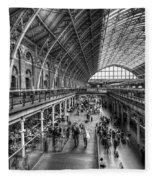 London St Pancras Station Bw Fleece Blanket