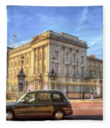 London Taxi And Buckingham Palace  Fleece Blanket