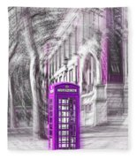 London Telephone Purple Fleece Blanket
