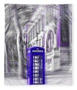 London Telephone Purple Blue Fleece Blanket
