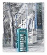London Telephone Turquoise Fleece Blanket
