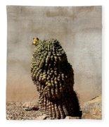 Lone Cactus In Sepia Tone Fleece Blanket