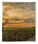 Lone Cedar Dock Sunset - Dewees Island Fleece Blanket