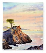 Lone Cypress Tree Pebble Beach Fleece Blanket