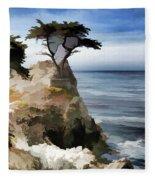 Lone Cypress Tree Pebble Beach  Fleece Blanket