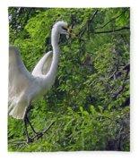 Lone Egret Fleece Blanket