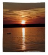 Lone Fisherman At Sunset Fleece Blanket