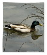 Lone Mallard Fleece Blanket