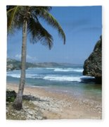 Lone Palm On Barbados Coast Fleece Blanket
