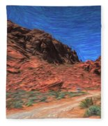 Lone Rock Road Paint  Fleece Blanket