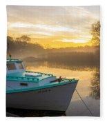 Lone Shark At Dawn Fleece Blanket