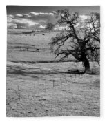 Lone Tree And Cows 2 Fleece Blanket