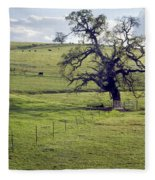 Lone Tree And Cows Fleece Blanket
