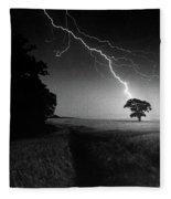 Lone Tree And Lightning Fleece Blanket