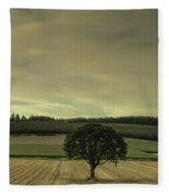 Lone Tree In The Field Fleece Blanket