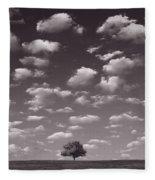 Lone Tree Morning In B And W Fleece Blanket