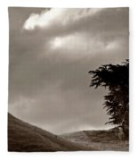Lone Tree On A New Zealand Hillside Fleece Blanket