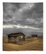 Lonely Beach Shacks Fleece Blanket