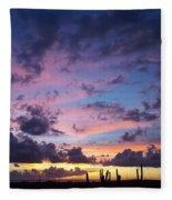 Cacti Sunset Fleece Blanket