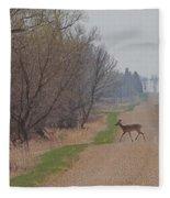Lonely Deer Crossing Fleece Blanket