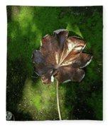Lonely Leaf On Moss Fleece Blanket