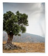 Lonely Olive Tree And Stormy Cloudy Sky Fleece Blanket