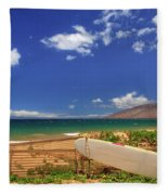 Lonely Surfboard Fleece Blanket