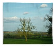 Lonely Tree Cotswold England Fleece Blanket
