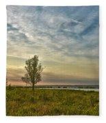 Lonely Tree In Dintelse Gorzen Fleece Blanket