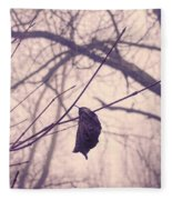Lonely Winter Leaf Fleece Blanket