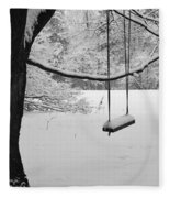 Lonely Winter Swing Ipswich Ma Fleece Blanket