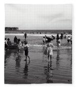 Long Beach California Bathers C. 1910 Fleece Blanket