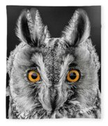 Long Eared Owl 2 Fleece Blanket
