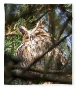 Long-eared Owl Fleece Blanket