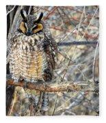 Long Eared Owl Resting Fleece Blanket