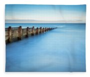Long Exposure Of Blyth Beach Groyne Fleece Blanket