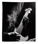 Long Hair Man Playing Guitar Fleece Blanket