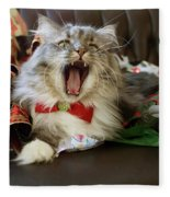 Long Haired Grey And White A Cat Yawns Amid Christmas Wrapping Paper Fleece Blanket