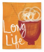Long Life Noodle Bowl Fleece Blanket by Linda Woods