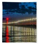 Long Lights At Grand Haven Pier Fleece Blanket